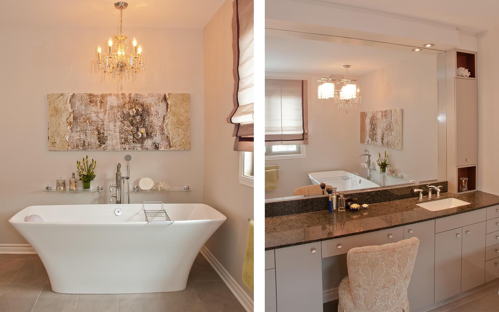 décoration baignoire, chandelier et comptoir