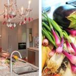design cuisine comptoir chandelier