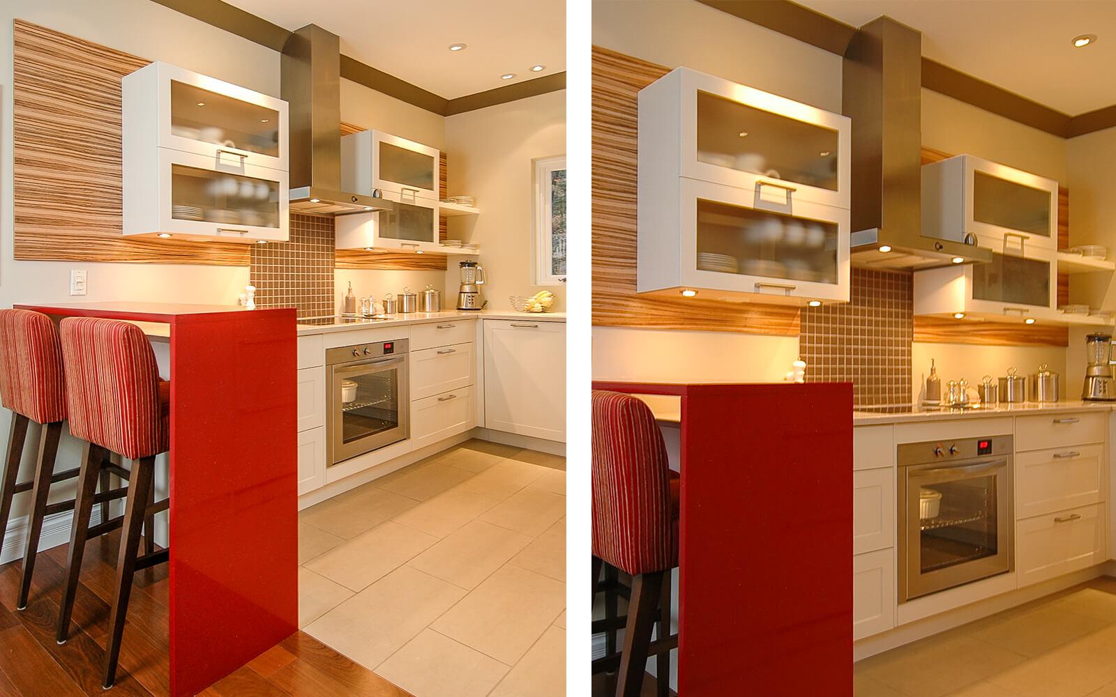 Design cuisine comptoir rouge détail bois