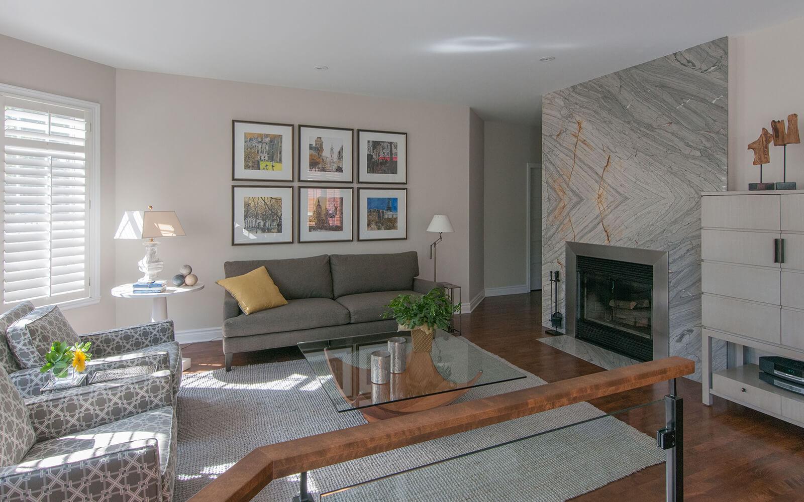 Projet de rénovation de séjour réalisée par la designer d'intérieur Lyne Côté